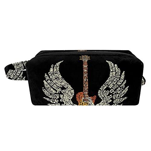 Bolsas de Aseo Durable Neceser Avion Unisexo Neceseres de Viaje Bolsa de Cosmético Neceser Paño de Oxford Organizador de Viaje Alas de Guitarra 21x8x9 cm