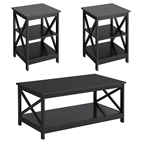 YAHEETECH Wood Living Room 3-Piece Table Sets - Includes X-Design Coffee Table & Two 3-Tier End Side Tables, Easy Assembly Home Accent Furniture