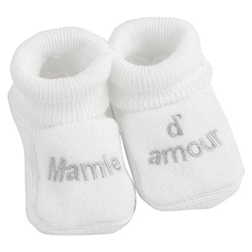KINOUSSES - Chaussons Bébé - Brodés 'Mamie d'amour' - 0-3 Mois - Blanc/Argent