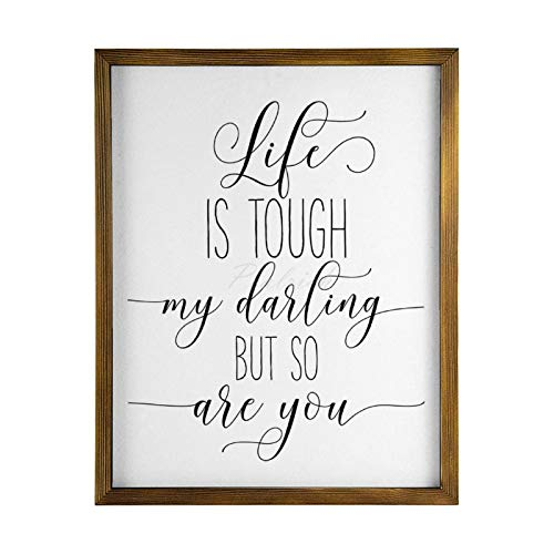 Scott397House Wood Framed Wall Art for Living Room, Life Is Tough,My Darling But So Are You Rustic Farmhouse Wooden Signs Home Decor for Bedroom Nursery Dorm 40x50cm
