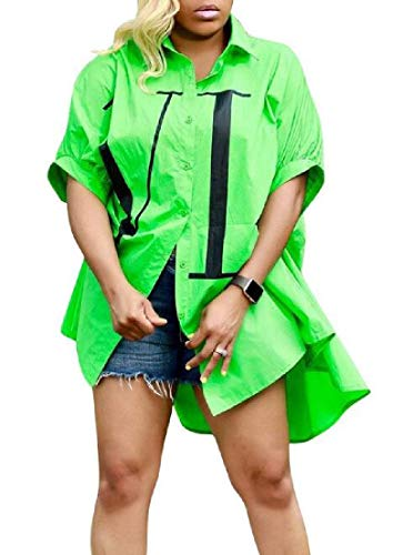 Yeirui Womens Fashion Button Up Loose Letter Print Casual Tops Blouse Shirt