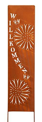 levandeo Stele Willkommen Garten-Deko 20x100cm Eisen Rost Rostdeko Braun Gartenstecker Gartenstele Edelrost Gartenschild Blume
