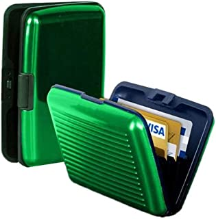 از سين اون تي في المنيوم اخضر للرجال - محفظة للبطاقات والهويات