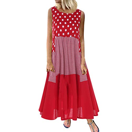 LOPILY Kleid Große Größen Damen Gepunktes Karietes Strandkleid Lose Lässiges Langes Kleid für Freizeit Luftiges Urlaub Kleid Plissee Kleid mit Welle Rand bis Gr.56 (Rot, Gr.54)
