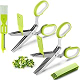 2 Packs Herb Scissors Set - Herb Scissors with 5 Blades and Cover, Herb shears with 3 Blades, Shred Silk Knife, Cool Kitchen Gadgets for Cutting Fresh Garden Herbs. Also Used for Cutting Paper.