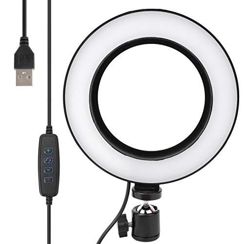 DAUERHAFT Luz de Video LED de luz de Relleno de Video de Anillo Regulable para transmisión en Vivo para Estudio en Vivo