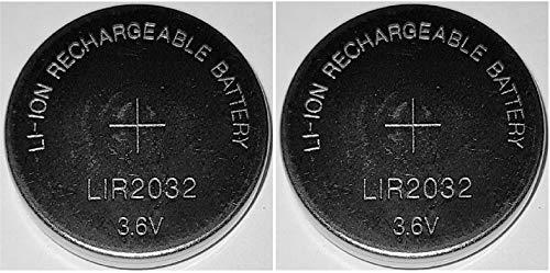 2 x LIR2032 Li-Ion Rechargeable 3,6V Akku Knopfzelle CR2032 wiederaufladbar