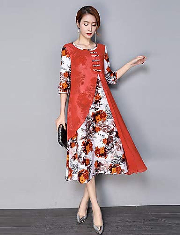 Women's Sheath Dress  Floral Split Stand