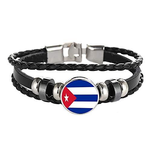 Wedare Souvenir Bandera de Cuba Pulsera Trenzada Cadena de Cuero Pulsera de Cristal Recuerdo, Pulsera Hecha a Mano de Moda para Hombre y Mujer día