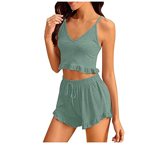 riou Conjunto de lencería Mujer Verano Corto Sin Mangas Encaje Sexy Color Sólido Pijama de Ropa de Dormir Babydoll Algodón Suave Loungewear 2021