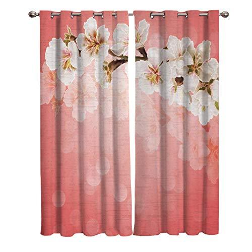 Cortinas para Dormitorio, Cortinas Opacas con Estampado de Flor de Cerezo Rosa, decoración para Sala de Estar, Cortinas Perforadas, Juego de 2 Piezas 220x215cm
