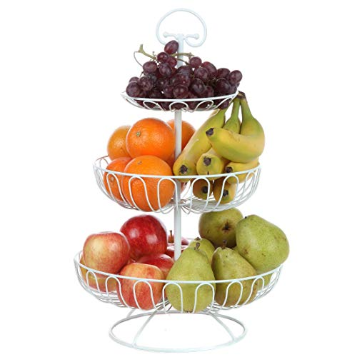Lily's Home Wire Fruit and Vegetable Holder, 3-Tiered Fruit Basket, Kitchen Accessories - White