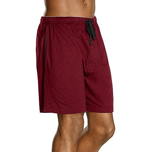 Hanes Men's 2-Pack Knit Short, Red & Black, XX-Large