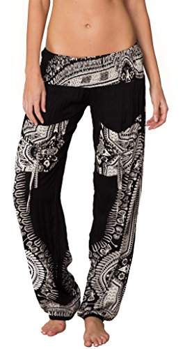 INGEAR Smocked Boho Harem Pants for Women - Hippie Bohemian Casual Gypsy Print, Ideal Yoga Pant - Baggy Harem Pants(X-Large, Black)