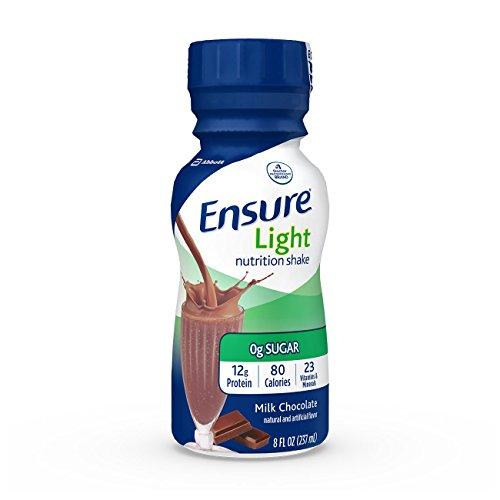 Ensure Light Nutrition Shake, 12g of high-quality protein, 0g Sugar, 2g Fat, Milk Chocolate, 8 fl oz, 24 Count