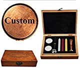 MNYR Custom Logo Picture Letters Monogram Sealing Wood Handle Wax Seal Stamp Melting Spoon Colorful Wax Sticks Wood Gift Box Set Kit