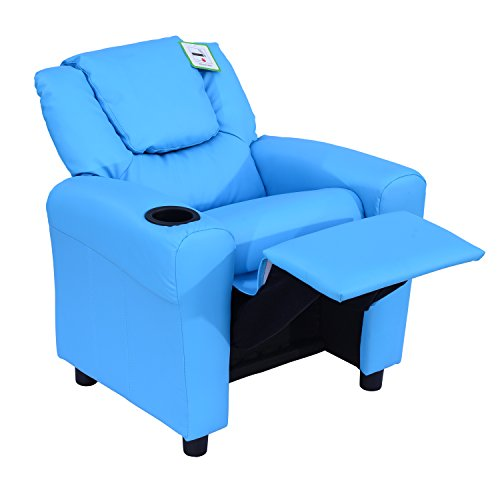 HOMCOM Kids Children Recliner Lounger Armchair Games Chair Sofa Seat PU Leather Look w/Cup Holder (Blue)