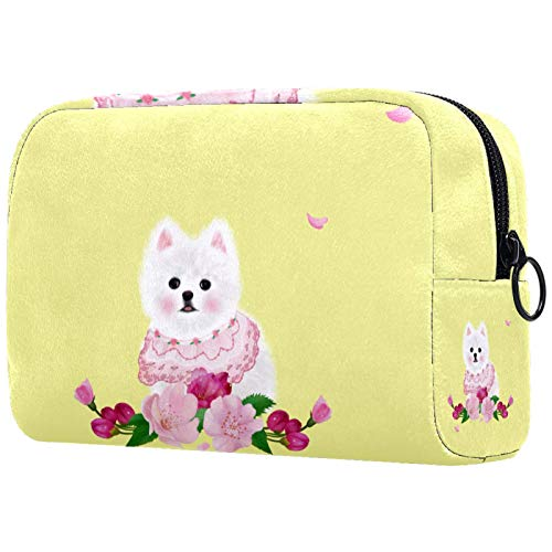 Personalised Makeup Brushes Bag Portable Toiletry Bags for Women Handbag Cosmetic Travel Organiser Little Dog