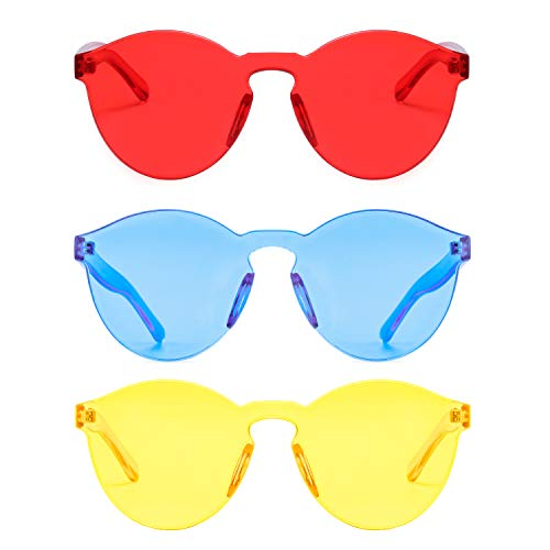 One Piece Rimless Sunglasses Transparent Candy Color Tinted Eyewear (red+yellow+ice blue)