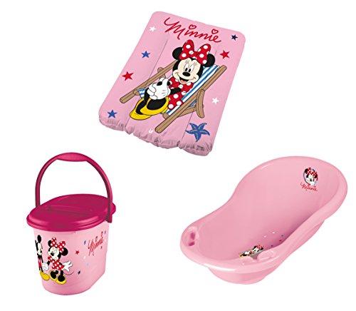 Baby Badewanne + Wickelauflage + Windeleimer Disney Minni Maus rosa