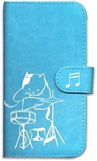 【BOW】Galaxy S5 docomo SC-04F au SCL23 ギャラクシー S5 ケース 手帳型 スマホ カバー puレザー (ネコ 猫 白猫 ドラム ドラムセット 音楽+透明 TPU ケース)シンプル カラフル カードホルダ付き 手帳ケース 18色