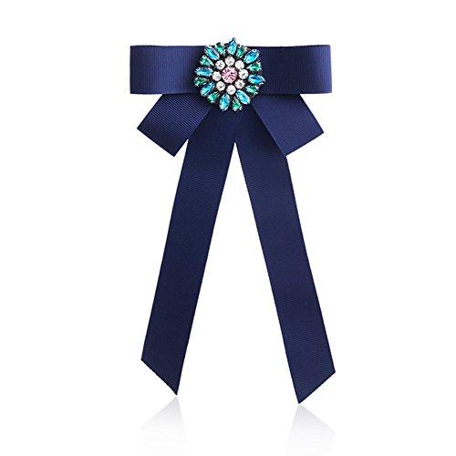 Nikgic Broche de lazo de tela preatada con diamantes de imitación coloridos de 20 x 10,5 cm (azul)