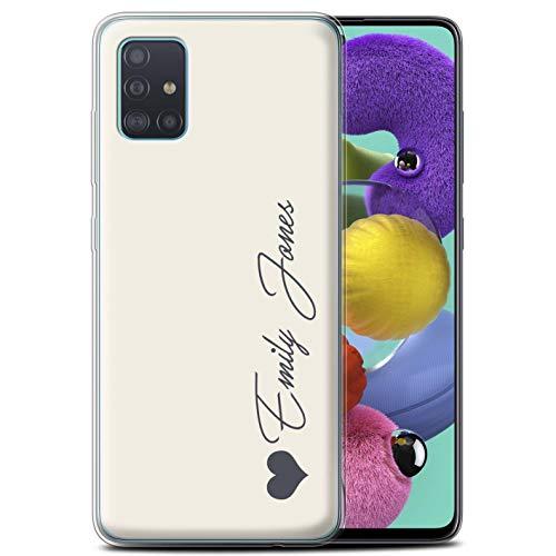 Stuff4 Personalisiert Persönlich Pastell Töne Gel/TPU Hülle für Samsung Galaxy A51 2020 / Elfenbein Herz Design/Initiale/Name/Text Schutzhülle/Hülle/Etui