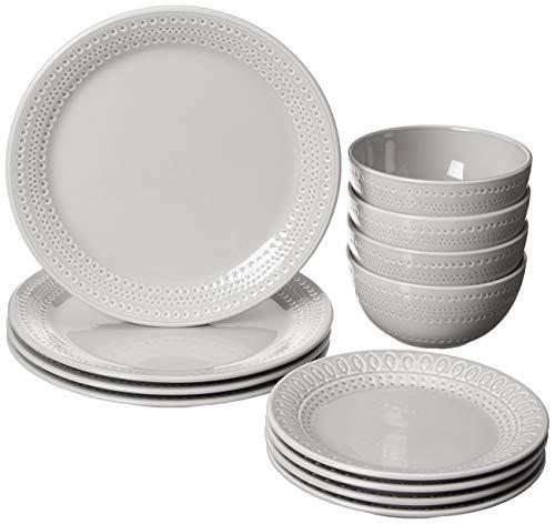 KATE SPADE 889116 Willow Drive8482 12-Piece Dinnerware Set, 17.75 LB, Taupe/Grey