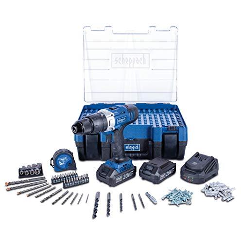 Scheppach DTB20-20ProS Mobile Werkstatt Akku-Schlagbohrmaschine mit 206-teiligem Zubehör in Kunststoffbox inkl. 2 Akkus und Ladegerät