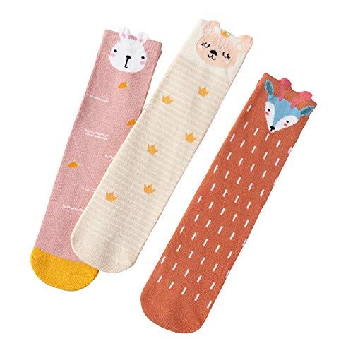 LUO Calcetines Calcetines para niños pequeños Antideslizantes para niños, Calcetines delicados y Suaves y de Alta Barril con Patas, Calcetines de Piso de casa, 0-8 años Unisex, 3 Pares (Color : A)