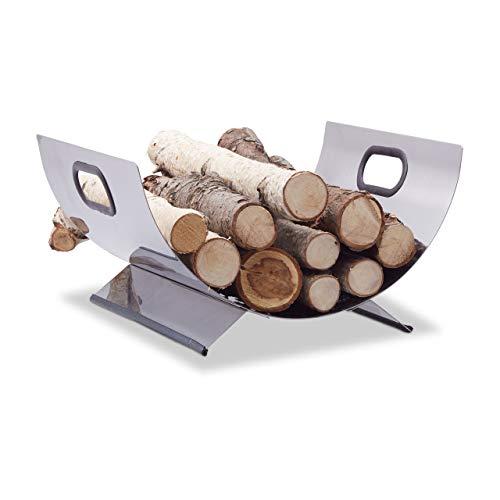 Relaxdays Porte-bûches de cheminée porte-revues inox métal moderne support bois HxlxP: 19 x 37 x 33 cm, argent