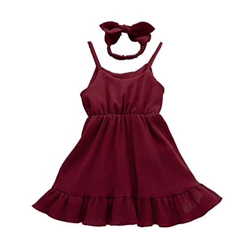 Julhold Peuter Baby Meisjes Effen Kleur Mouwloos Effen Print Vest Ruches Vrije tijd Katoen Jurk+Hoofdband Outfits 0-4Jaar