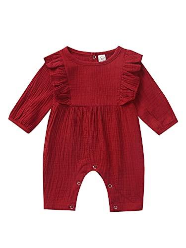 Mono de algodón de lino para recién nacidos, para bebé, para recién nacidos, primavera, otoño, rojo vino, 24 meses