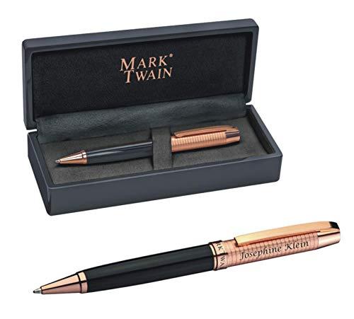 Schreibset MARK®TWAIN Drehkugelschreiber schwarzer Lackoptik mit Kupfer inklusive persönliche Laser Gravur Geschenkbox Blaue Mine zum Geburtstag 1303403