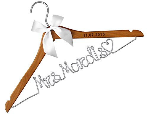 VVFOR Wood Wedding Hangers-Lser Engraved Custom Personalized Bridal Dress Hanger Gifts for Bride Mother of The Bride's Gifts Gifts for Groom