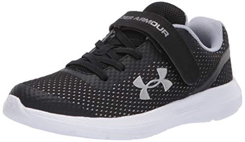 Under Armour unisex child Pre School Impulse Alternative Closure Sneaker, Black/Metallic Silver, 1.5 Little Kid US