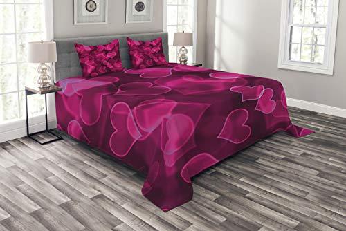 ABAKUHAUS Hot Pink Tagesdecke Set, Nettes Herz Verschwommen, Set mit Kissenbezügen Kein verblassen, für Doppelbetten 220 x 220 cm, Magenta Hot Pink