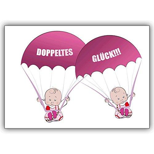 1 Babykarte: Süße Zwillings Babykarte zur Geburt von Zwillings Mädchen: Doppeltes Glück!!! • zauberhafte Willkommens Grusskarte, Geschenk-karte zur Geburt um Mutter und Kind zu gratulieren für Mitarbeiter, Familie