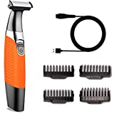 Beard Mustache Trimmer for Men Rechargeable Electric Hair Razor Foil Shaver for Edging Beards, Mustaches, Stubble and Body Hair - Cordless Wet Dry Man's Hair Groomer Kit with Combs