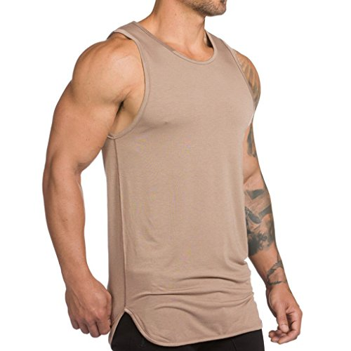 Magiftbox - Camiseta de tirantes para hombre, color negro y caqui T05 -  Caqui -  Large