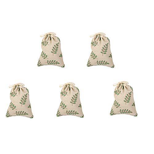 PULABO Bolsa de regalo de arpillera con cordón impreso bolsa de regalo bolsas de lino para fiestas de cumpleaños, boda, 5 piezas patrón de hojas de calidad superior y creativa buena calidad
