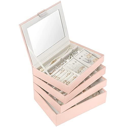 Allinside Caja Joyero Caja de Joyas Apilable con Tapa de Espejo, Bandejas para Joyas de Cuero Sintético para Anillos Pendientes Collares Pulseras, para Niñas Mujeres, 4 Niveles, Rosa