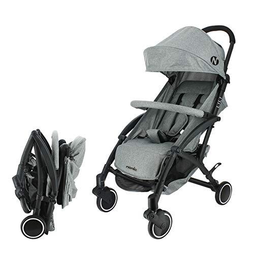 Nania Kompakter Kinderwagen Lili 0-36 Monate, leicht, 6 kg - mit Regenschutz (grau)
