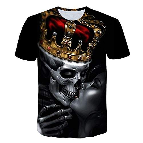 RKWEI T-shirt à manches courtes pour homme Motif crâne 3D Motif femmes L multicolore