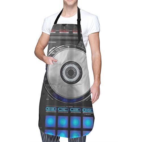 COFEIYISI Delantal de Cocina Impresión 3D de Dj Pioneer Pattern Delantal Chefs Cocina para Cocinar/Hornear