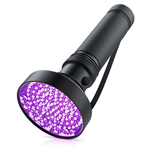 Brandson- Linterna UV LED de alta potencia- Linterna de Luz ultravioleta Luz Negra - 100 LED - Gran área de iluminación - muy luminosa- IP54 - Duradera, robusta y resistente
