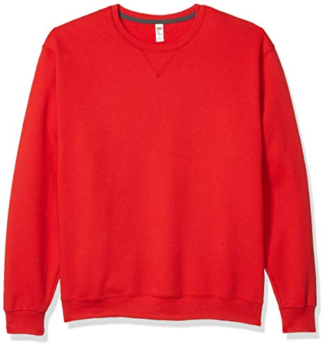 Fruit of the Loom Sweat polaire à col rond pour homme - Rouge - Medium