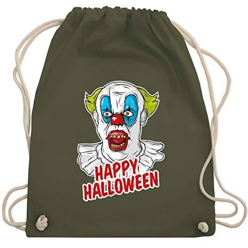 Shirtracer Halloween - Happy Halloween - Clown - Unisize - Olivgrün - Geschenk - WM110 - Turnbeutel und Stoffbeutel aus Baumwolle