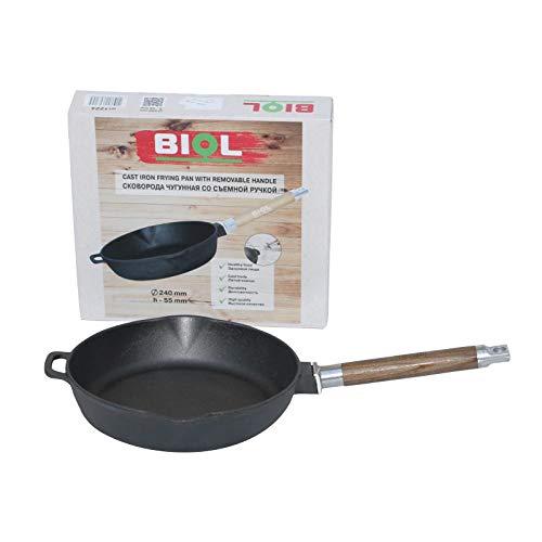 gietijzeren pan/koekenpan zonder coating 24, 26, 28 cm afneembare handgreep inductie 28 cm Zwart