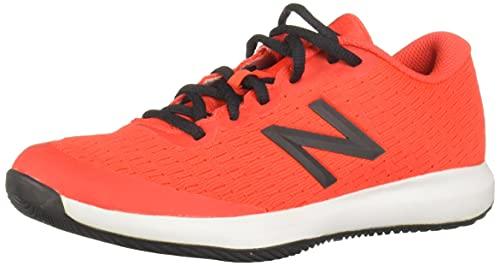 New Balance Girls 996 V4 Tennis Shoe, Neo Flame/Black, 4.5 Wide Big Kid
